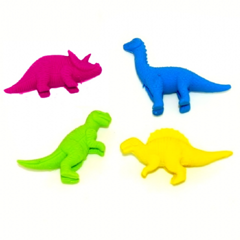 12 x Dinosaurs Sets In Bag - 3d Novelty Erasers Rubbers - 4 Pieces